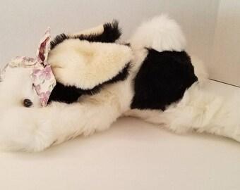 Commonwealth Bunny Rabbit Plush Stuffed Animal Black White 1990