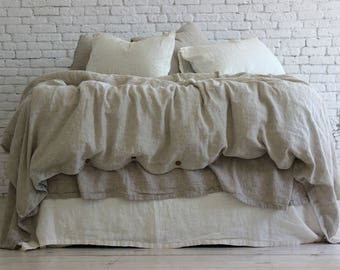 100% Linen Stone Washed Duvet Cover Natural 9 colors Super Soft Organic European Linen US Twin XL Double CalKing Queen Full King Baby sizes
