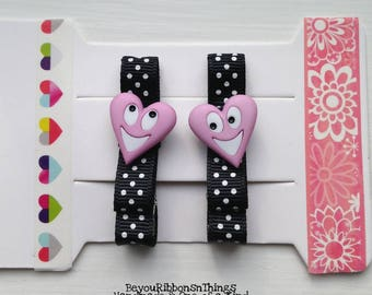 Happy Hearts | | Pink | Hair Clips for Girls | Toddler Barrette | Kids Hair Accessories | Grosgrain Ribbon | No Slip Grip