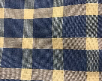 Light Blue Checked Gingham Grid Plaid Fabric Remnant 1 Yard