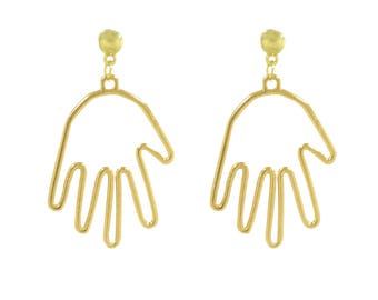 Picasso Hand Wire Earrings, Gold Hand Earrings, wire Earrings, Witch Earrings, simple gold hand earrings, cult fashion, gold hand