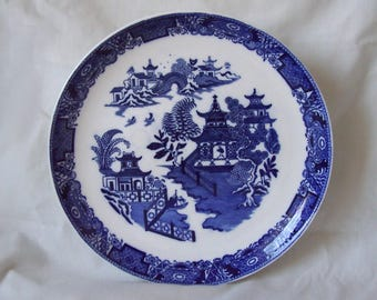 Blue and White Willow Pattern Plate Royal Worcester c.1922 Willow Pattern Blue