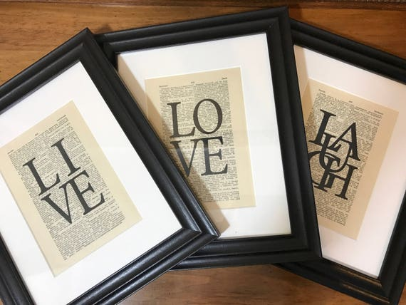 Set of 3 Framed Live Laugh Love Dictionary Prints // Framed Dictionary Pages // Framed Inspirational Words // Framed Life Quotes