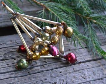 Vintage Christmas ornament, Soviet 1950s Christmas ornament, mercury glass beaded ornament, retro Christmas decor, rare glass ornament