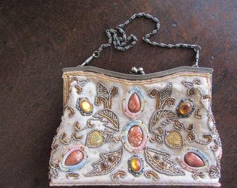 Vintage embroidered silk evening handbag, purse, cruise, wedding. Norman Longstaff. Cream silk