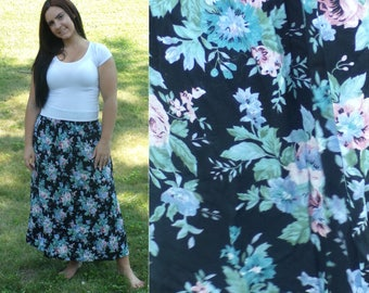 80s Pink & Blue Floral Skirt, Full Length Skirt, Maxi Skirt, Flowered Skirt, Summer Skirt, Black Skirt, Vintage 1990s Long Skirt, Boho Skirt
