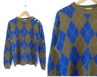 80s Argyle Sweater Diamond Print Sweater  Metallic Gold Geometric Pullover Soft Acrylic Crew Neck Sweater Womens Jumper Medium