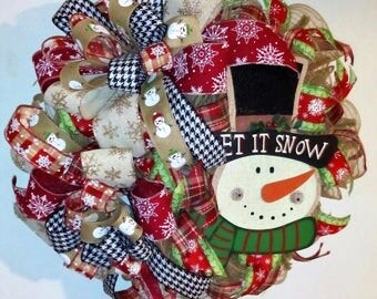 Christmas Wreath, Holiday Wreath, Winter Wreath, Christmas, Front Door Wreath, Snowman Wreath, Deco Mesh Wreath, Christmas Decor, Home Decor