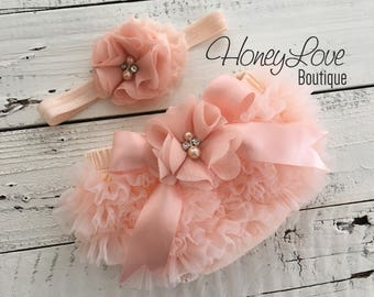 Peach ruffle bottom bloomers diaper cover, flower rhinestone pearl headband hair bow, newborn infant toddler baby girl take home hospital
