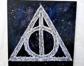 Harry Potter Deathly Hallows String Art Home Decor Wall Art with Galaxy Paint