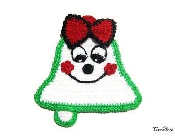 Christmas crochet bell potholder, Handmade potholder, Presina di Natale a forma di campana all'uncinetto