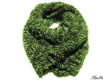 Green Knitted scarf, Fashion scarf, Ladies scarves, Handmade scarf, Winter accessories, Sciarpa verde