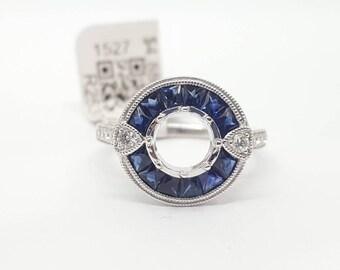 Art Deco 14k White Gold Diamond & Sapphire Ring Semi Mount Round Center 6 MM to 6.5mm