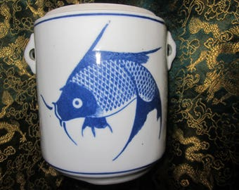 Chinese Vtg Koi Fish Hand Painted Blue White Details Double Handle Tea Caddy  Vtg China Mark