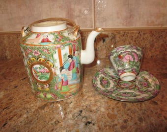 Chinese  Medallion Porcelain Teapot Bamboo Handles Great  Details  1860s Excellent  Tea Cup and Saucer set Very Nice
