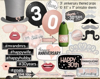 Photo Booth Props, HAPPY 30TH ANNIVERSARY, party, black, silver, rose gold, pink, selfie station, printable sheets, instant download