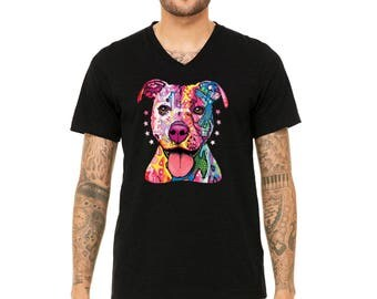 MEN PREMIUM Vneck Rescues Are My Favorite Yorkie Love menV-Neck SLIM T-shirt Don't Shop Adopt Shirts