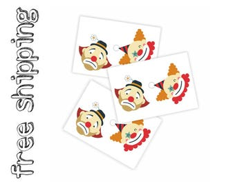 Set of 3 temporary tattoos «Clowns». Kids body stickers with smiling and crying clowns. Circus playdate and party bag supply. TT170