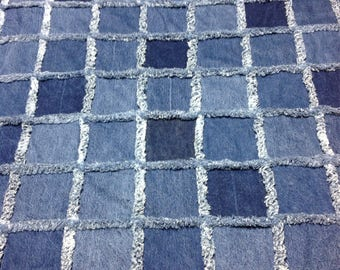 Shades of Blue Rag Blanket with Denim Lining