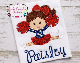 Cheerleader Embroidered Toddler T-shirt, Embroidered T-shirt