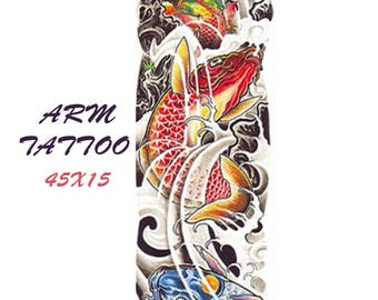 Fish colored tattoo sleeve  45X15 cm / temporary tattoo