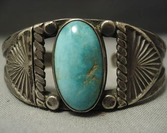 Early 1900's Coin Ingot Silver Vintage Navajo Green Turquoise Bracelet Old Pawn