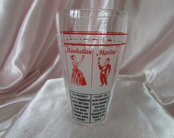 Hazel Atlas Martini Shaker, VINTAGE Cocktail Shaker, VTG Drink Mixer Barware, Cocktail Recipes, Collectible