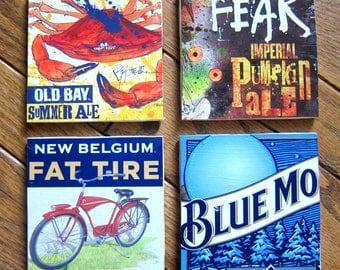 Coasters | Set of 4 | Tile | Beer