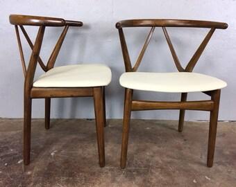 Henning Kjaernulf Leather and Walnut Side Chair Pair for Bruno Hansen