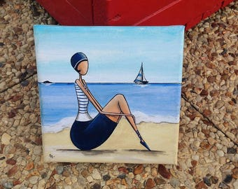 Only on the sand... Acrylic Beach Retro bather