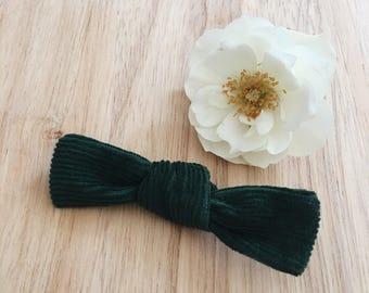 Emerald corduroy bow