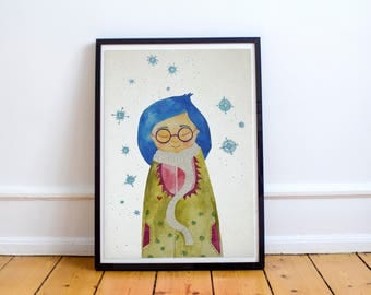 Blue hair girl with snowflakes watercolor illustration wall hanging home decor print art nursery childrens room decor baby shower gift
