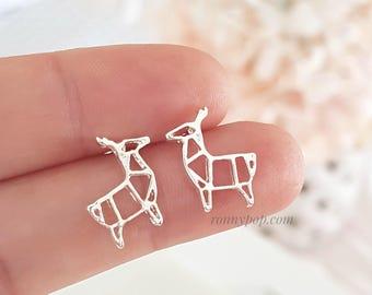 Lama Origami Earrings - Deer Earrings - Origami Earrings - Deer Jewelry - Origami  Jewelry - Studs Earrings - Silver - Dainty - Gift Ideas