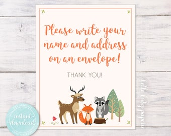 Baby Shower Address an Envelope Sign - Please Write Your Name and Address on an Envelope  - Woodland Baby Shower - WF001