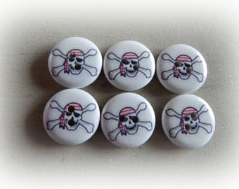 6 buttons round theme pirate / skull 20 mm