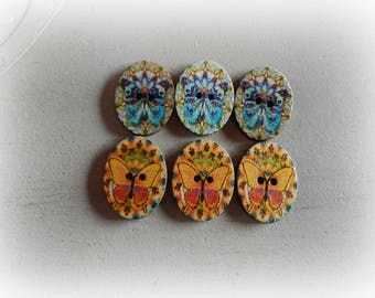 6 buttons oval Butterfly motif - mixed - 28 * 21 mm