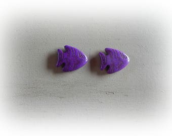 2 beads 27 * 24 mm purple howlite fish