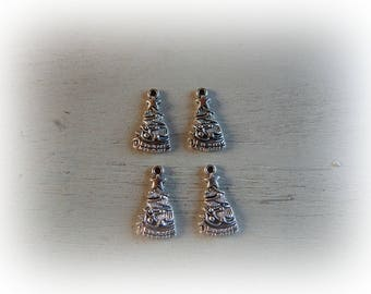 4 silver metal 13 * 25 mm decorated Christmas tree charms