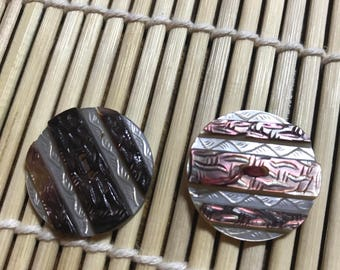 Lot of 2 Vintage Carved Abalone Coat Buttons