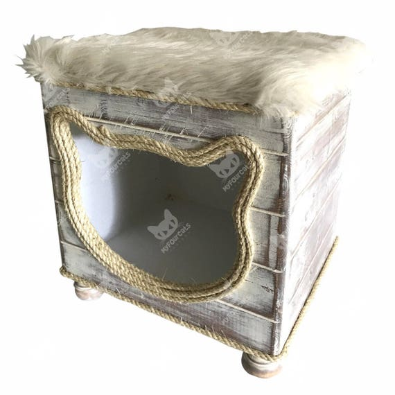 Cat Cottage Cat Bed Cat Cave Cat Furniture Footstool Home Decor Shabby Chic Rustic