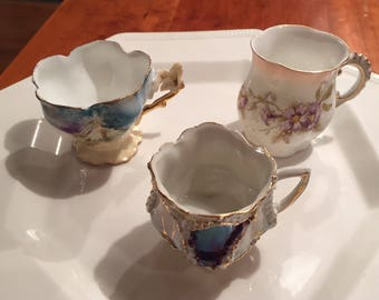 Antique Delicate Rs Prussia Bone China Demitasse Coffee Or Hot Chocolate Cups Dainty Collectible