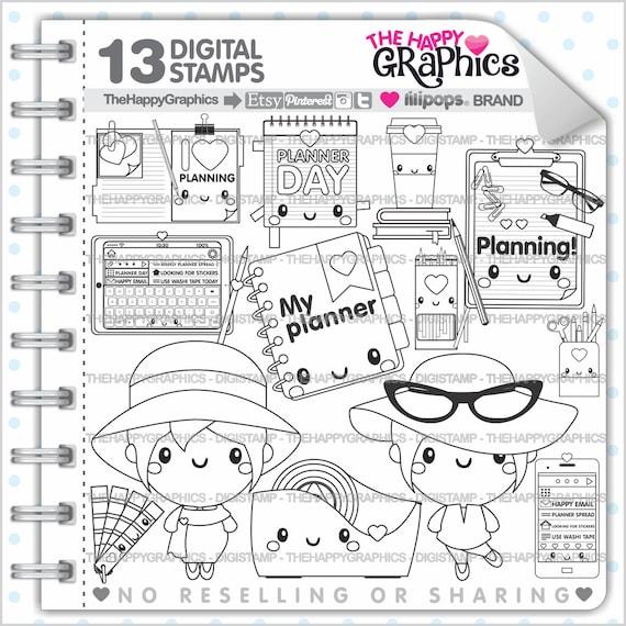 Planner Girl Stamps Commercial Use Digi Stamp Digital Image