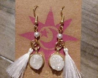 Stone danglies with tassels- gold