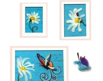 ON SALEcij 20% off Shabby Chic Tapestries, Wool Pictures, Needle Felted Art.