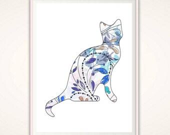 Cat Wall Art cat art | etsy