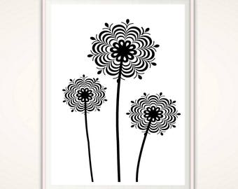 Dandelion Wall Art - Dandelion Print, Floral PRINTABLE, Flower Print, Dandelion Art, Black and White Print, Flower Poster, Gallery Wall Art