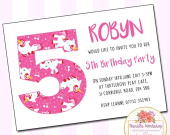 Personalised Girls Unicorn, Unicorn invitation, Childrens Birthday Party, A6 Invitations & Envelopes, Pink invitations