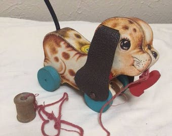 Vintage fisher price puppy pull toy