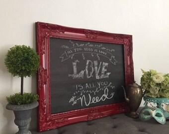 Kitchen Message Board, Large Red Chalkboard, Hollywood Regency Decor, Large  Memo Board,
