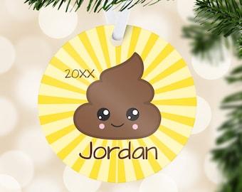 Emoji Kids Ornament - Yellow Poop Emoji Holiday Ornament, Poop Emoji Personalized Name Ornament, You Pick Emoji - Kids Personalized Gift